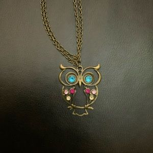 Vintage style owl sweater put overhead necklace.